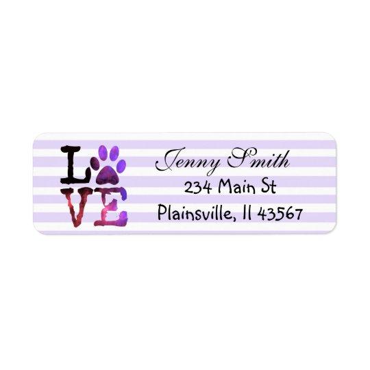 Purple Striped Love Paw Print Return Address Label