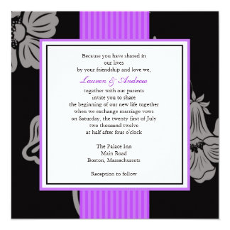 Purple Striped Wedding Invitations