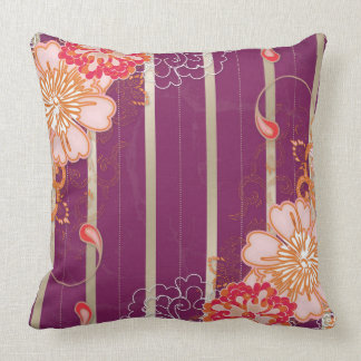 Purple Stripes and Big Flowers Throw Pillow Throw Pillows