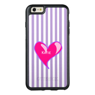 Purple Stripes and Pink Heart iPhone 6 Plus Case