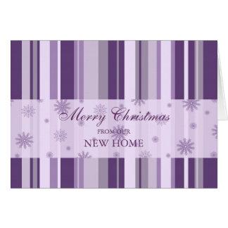 Purple Stripes and Snow New Address Christmas Card