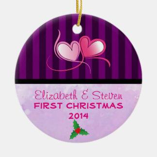 Purple Stripes and Soft Lavender Texture Christmas Ornament