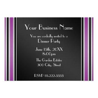 Purple stripes Business invitation