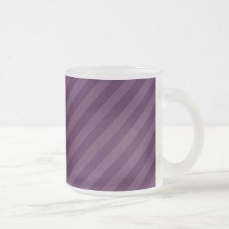 Purple stripes frosted glass mug