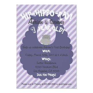 Purple Stripes Hip-Hippo-Ray First Bday Invitation