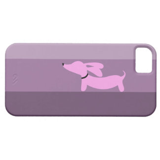 Purple Stripes + Pink Dachshund iPhone 5 Cover