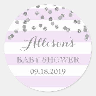 Purple Stripes Silver Confetti Baby Shower Favor Classic Round Sticker