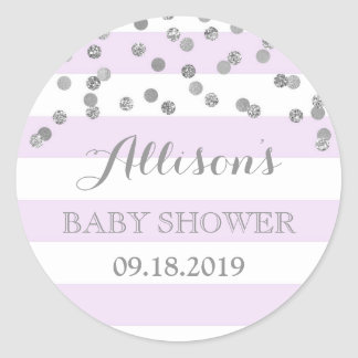Purple Stripes Silver Confetti Baby Shower Favor Round Sticker