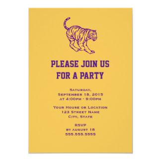 Purple Stripes Wild Cat Tiger Generic Party 13 Cm X 18 Cm Invitation Card