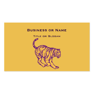 Purple Stripes Wild Cat Tiger Illustration Pack Of Standard Business Cards