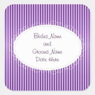 Purple Stripey Pattern Wedding Square Sticker