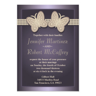 Purple Studded Butterfly Wedding Invitations
