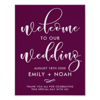 Purple Stylish Script Welcome to Our Wedding Sign