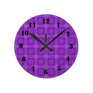 Purple stylish wood pattern clocks