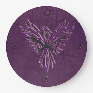 Purple stylized Phoenix Rising, leather texture Wallclock