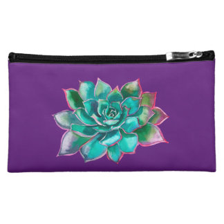 Purple Succulent Cosmetic Bag