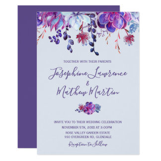 Purple Succulents Wedding Invitation