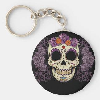 Purple Sugar Skull Basic Round Button Key Ring