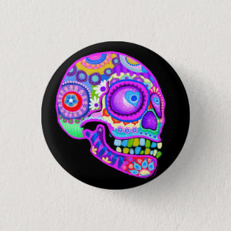 Purple Sugar Skull Button / Pin Art by Thaneeya