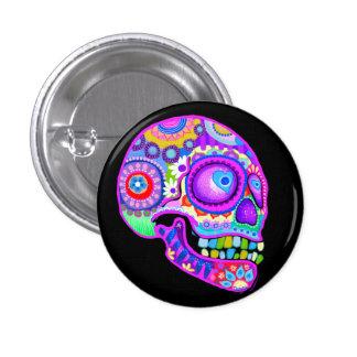 Purple Sugar Skull Button / Pin Art by Thaneeya