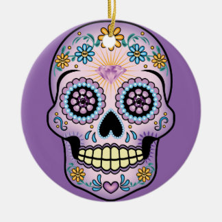 Purple Sugar Skull Christmas Ornament