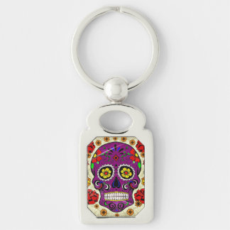 Purple Sugar Skull Day of the Dead Key Chain Silver-Colored Rectangle Key Ring