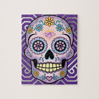 Purple Sugar Skull Jigsaw Puzzle