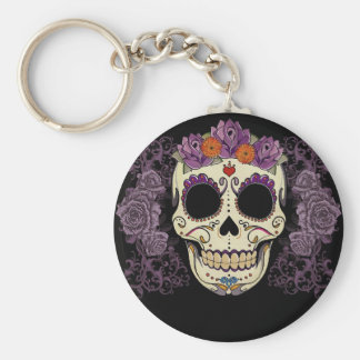 Purple Sugar Skull Key Ring