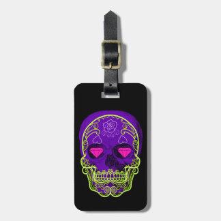 Purple Sugar Skull Luggage Tag