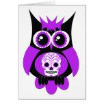 Purple Sugar Skull Owl Card