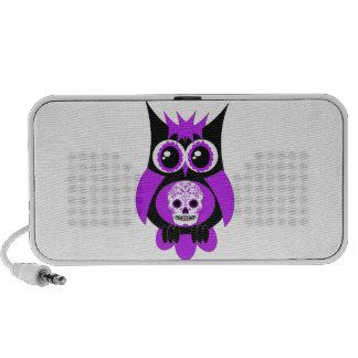 Purple Sugar Skull Owl Doodle Portable Speakers