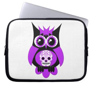 Purple Sugar Skull Owl Electronics Bag Computer Sleeve