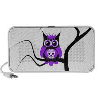 Purple Sugar Skull Owl in Tree Doodle Travel Speakers