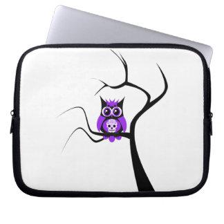 Purple Sugar Skull Owl in Tree Electronics Bag