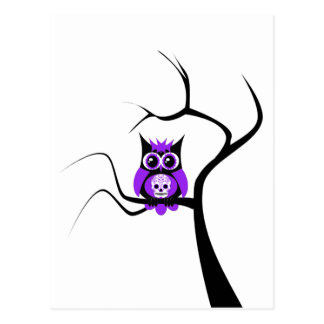 Purple Sugar Skull Owl in Tree Postcard