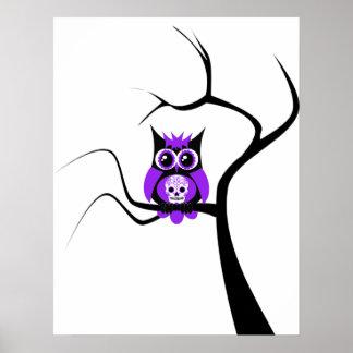 Purple Sugar Skull Owl in Tree Poster