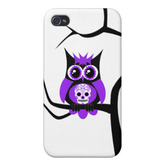 Purple Sugar Skull Owl in Tree Speck Case Case For iPhone 4