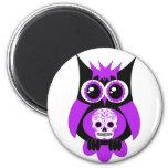 Purple Sugar Skull Owl Magnet