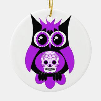 Purple Sugar Skull Owl Ornament