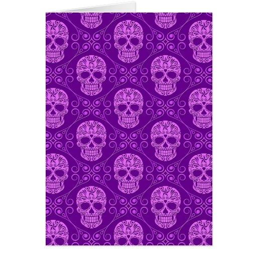 Purple Sugar Skull Pattern Card