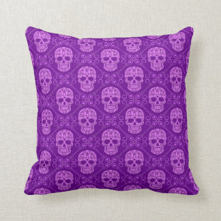 Purple Sugar Skull Pattern Cushion