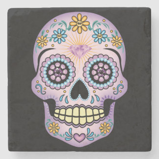 Purple Sugar Skull Stone Coaster