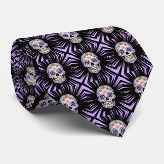 Purple Sugar Skull Tie