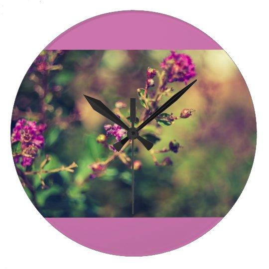 Purple summer nature wall clock