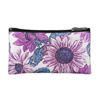 Purple Sunflower Cosmetic Bag (Small)