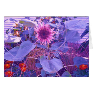 Purple Sunflower Greeting Note Card