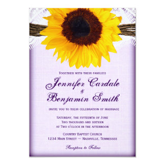 Purple Sunflower Rustic Country Wedding Invites