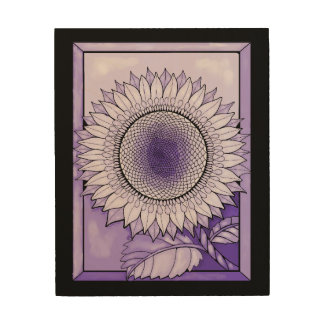 Purple Sunflower Wood Wall Art