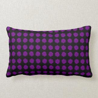 Purple Sunflowers on reverse solid Purple Black Lumbar Cushion
