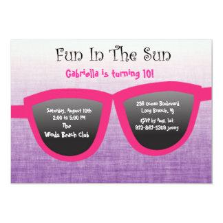 Purple SunGlasses Birthday Party Invitation